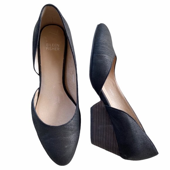 EILEEN FISHER Lily Leather Half d'Orsay Black 8.5